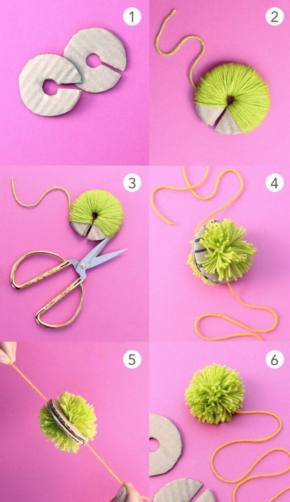 Verwenden Sie eine Kartonschablone, um diesen DIY-Pom-Pom aus Wolle oder Garn herzustellen