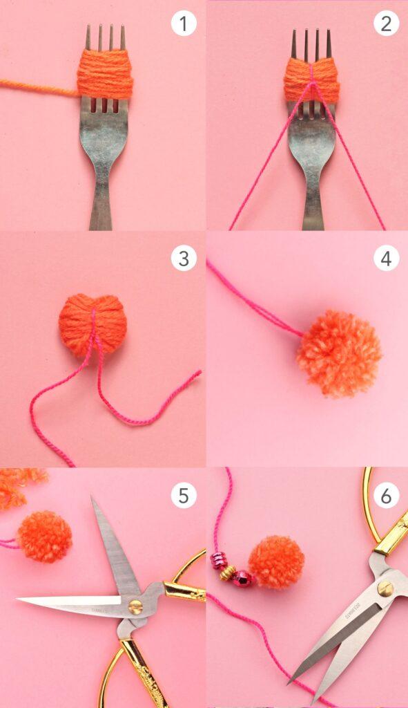 Mini-Pom-Poms mit einer Gabel und Wolle oder Garn