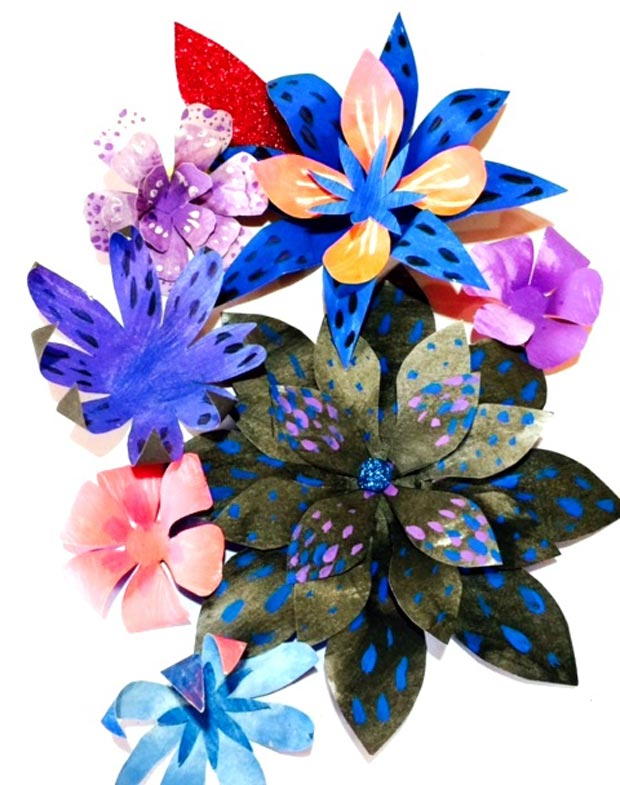 How to make painted paper petals and flowers for Day of the Dead flower crown