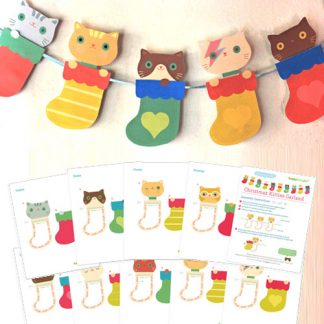 Christmas Kittens in socks garland template decoration idea!