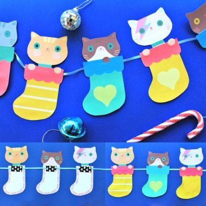 kittens-in-stockings-garland template DIY activity
