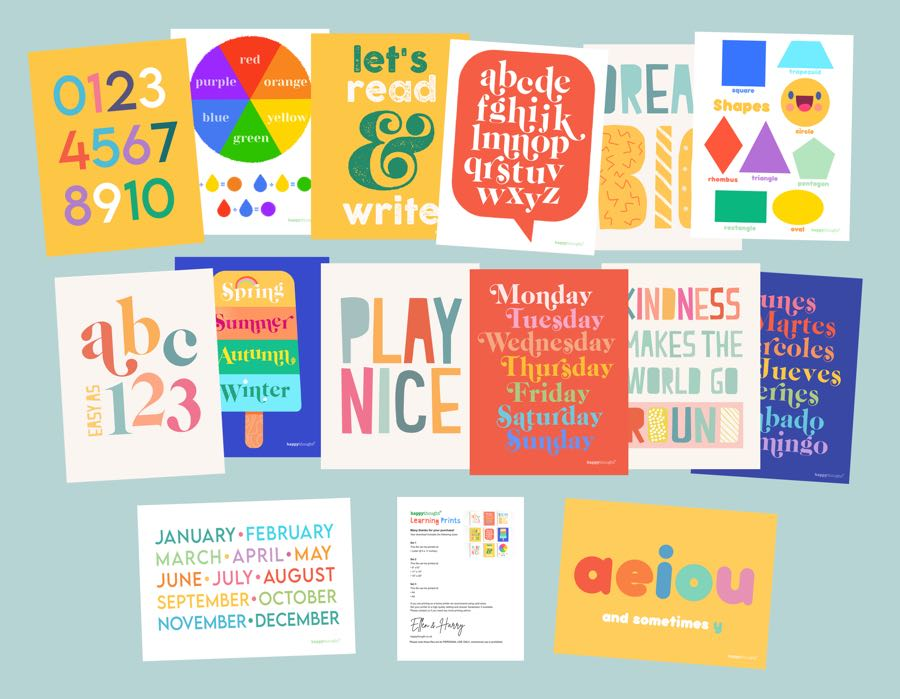 Happythought learning poster downloadable PDF wall art