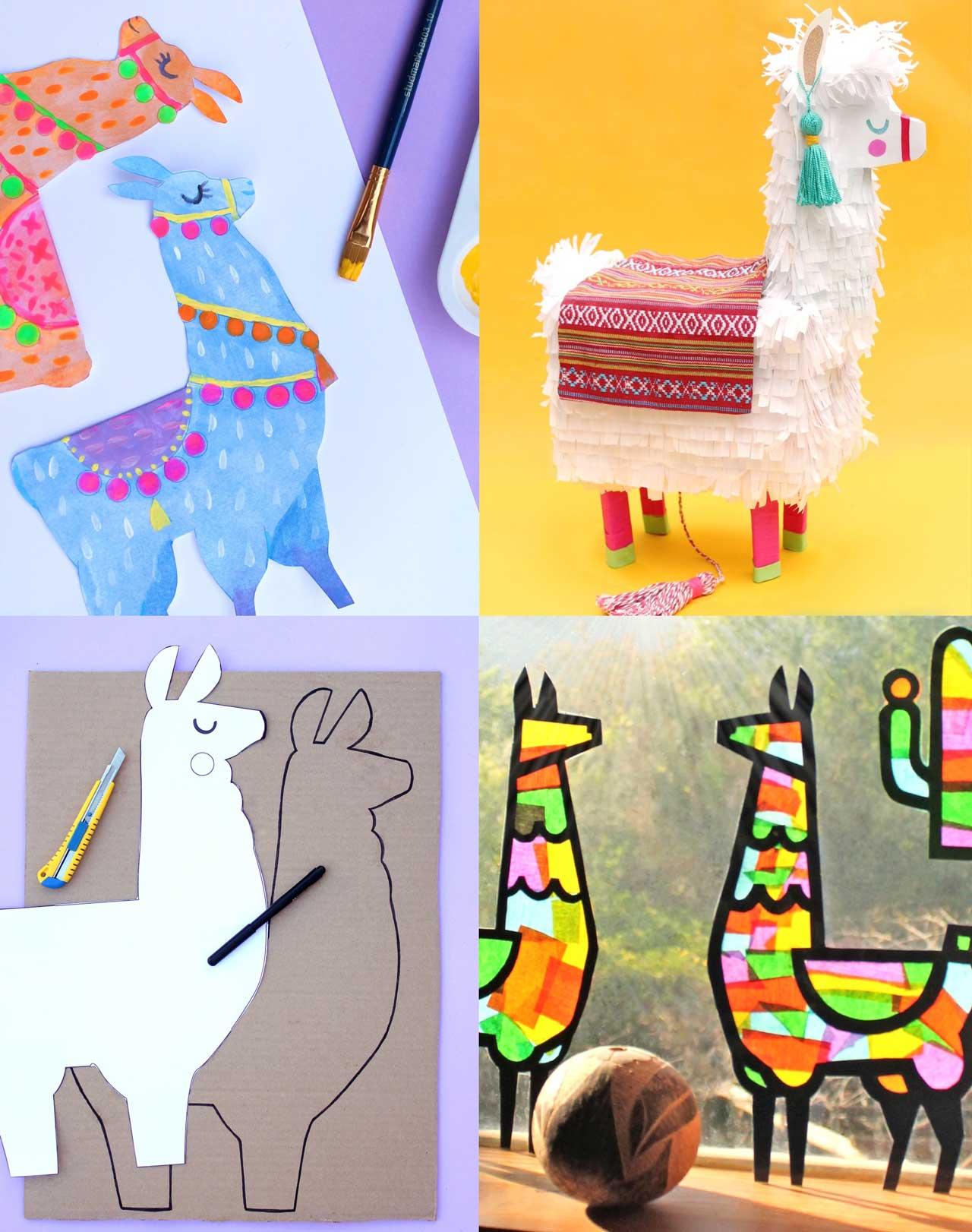 Llama garlands to paint, llama pinatas to make, pinboard llama and stunning llama suncatchers