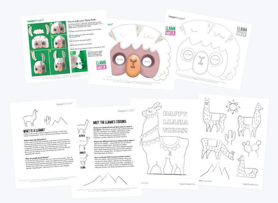 DIY llama mask templates