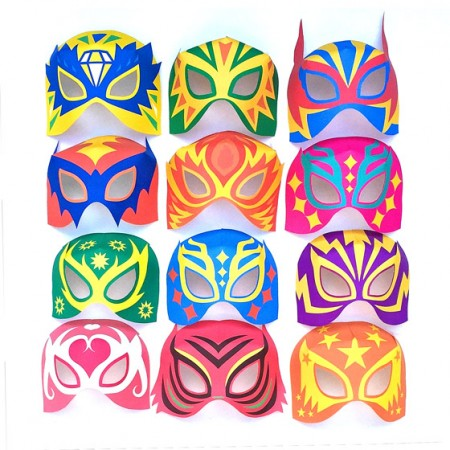 12 lucha libre masks + cuffs. Easy masks printable DIY!