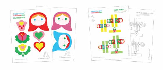 Matryoshka dolls finger puppets and balloon sticker templates