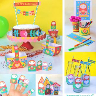 Matryoshka dolls paper craft party printables!