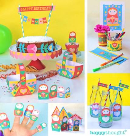 Matryoshka dolls paper craft party printables!