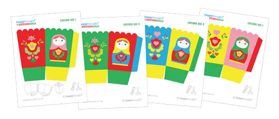 Matryoshka doll or Russian nesting dolls printable pop corn box templates!
