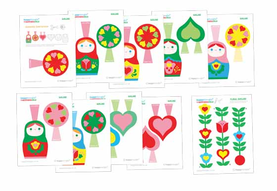 Make flower or Matryoshka dolls garland banners!