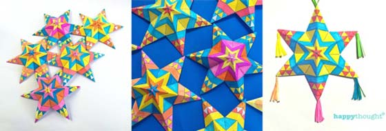 Make Mexican Mexican paper star ornaments craft printable color-in activity!