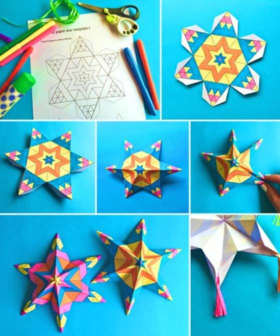 Estrellas de papel mexicanas fáciles de armar: ¡actividades manuales imprimibles para colorear!