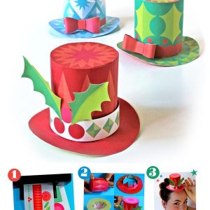 3 festive holiday miniature top hats to print out, make and wear for the Holidays!