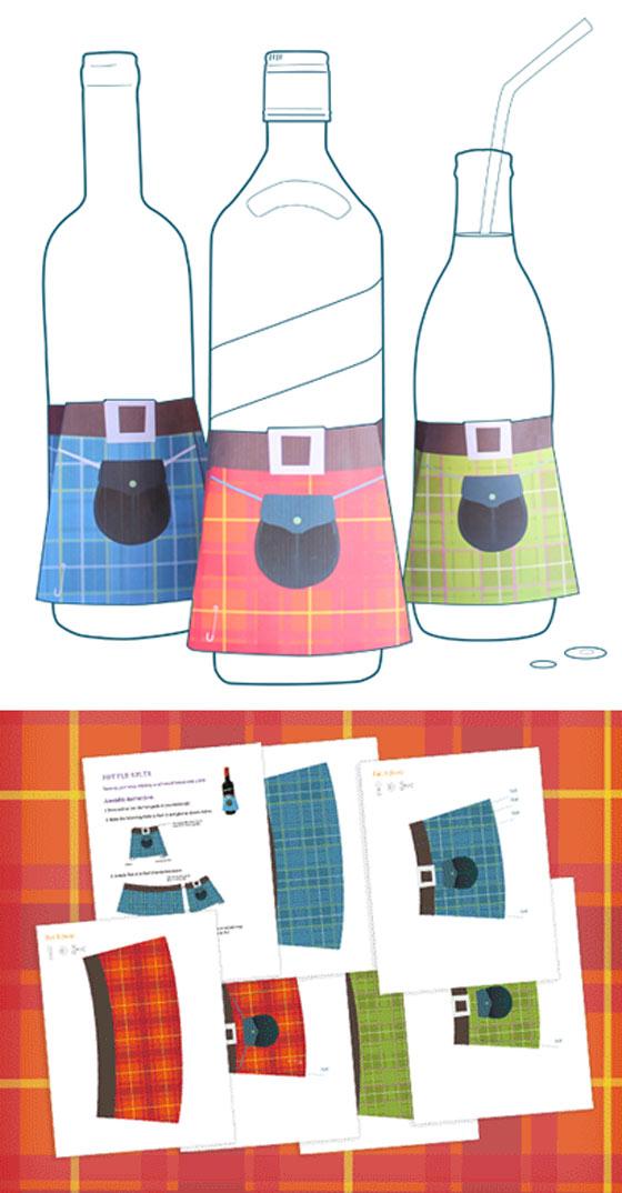 Mini tartan kilt templates - printable papercraft decorations!