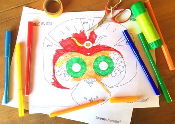 DIY Monkey mask - Chinese New Year color-in mask template!