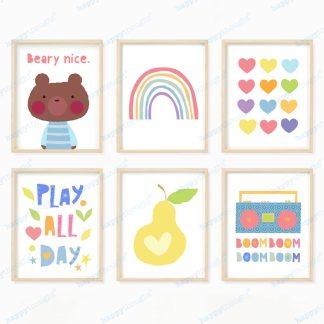 Nursery wall art prints, play all day, beary nice, rainbow, hearts, pear and boombox.