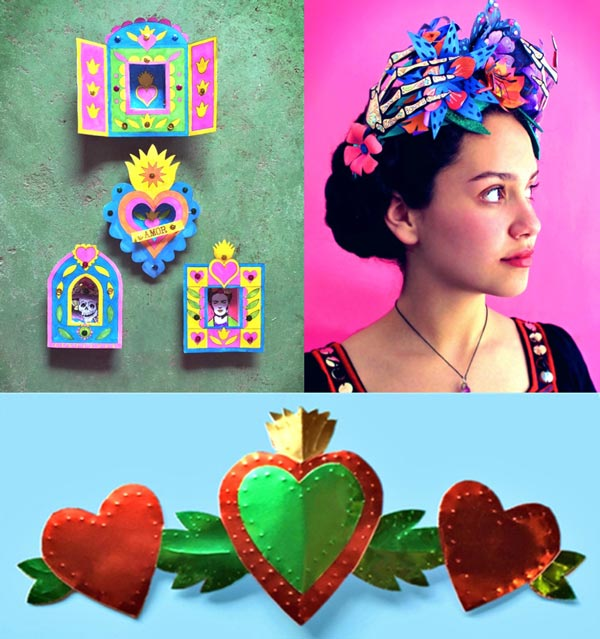 DIY Nicho activity, paper flower crown and milagro craft idea Day of the Dead dotd