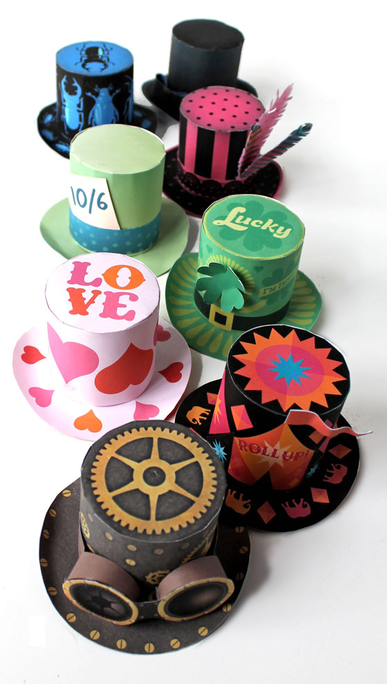 Mini paper top hats for parties