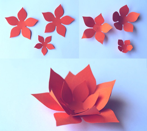 How to make orange paper flowers. DIY printable patterns!