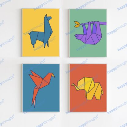 Origamis animal prints: elephant, sloth, llama and parrot