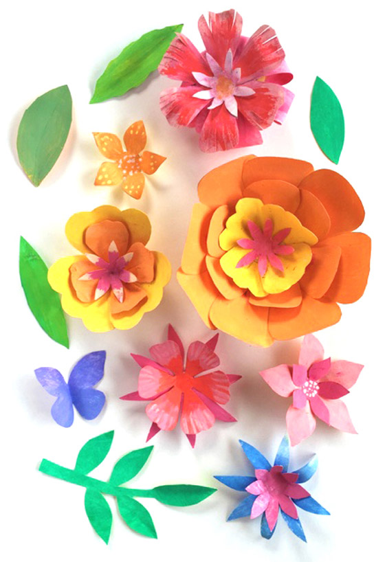 Ornamental paper flowers for a crown headpiece!