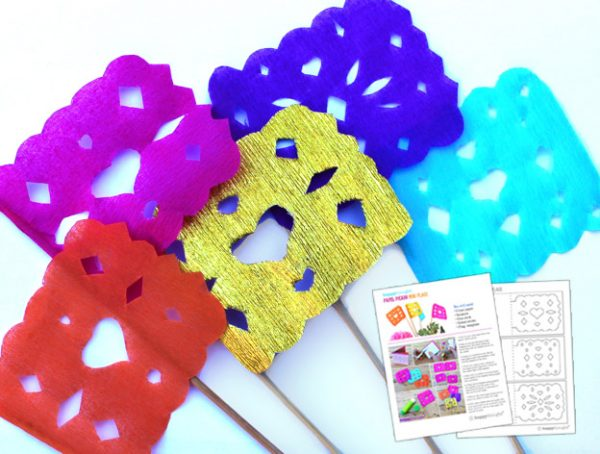free papel picado mini flag template to use as decorations at fiestas