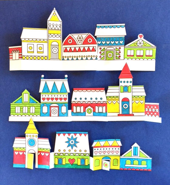 Paper Crafts Village Color In Printables Happythought Holiday Craft Activity Pack