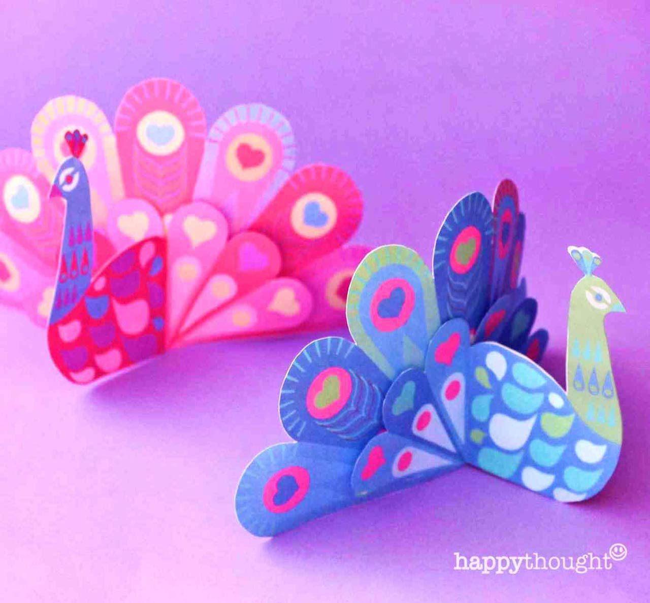 Easy DIY paper craft peacocks making activity