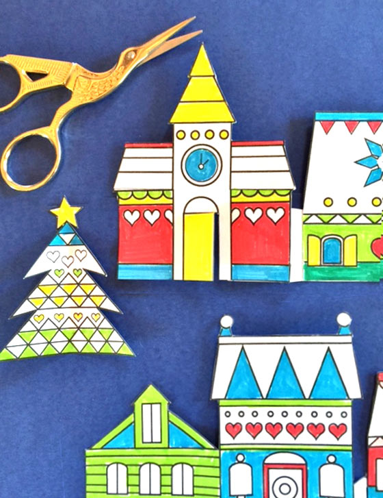 Color in paper crafts village patterns: Happythought Holiday craft activity pack!