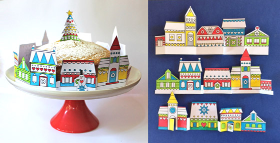 Paper crafts festive village decorations: Happythought Holiday craft activity pack!