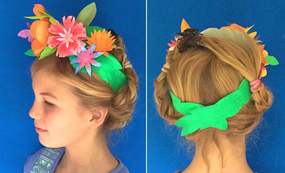 Corona de flores - Vista frontal y trasera de cintitllo de papel con flores de papel