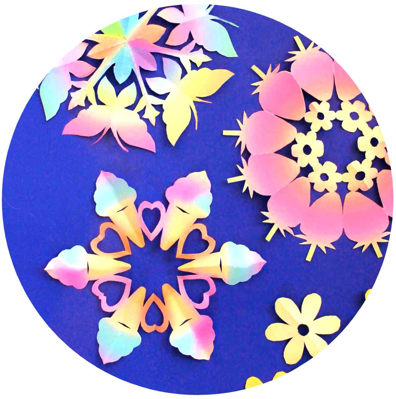Make colorful paper snowflakes