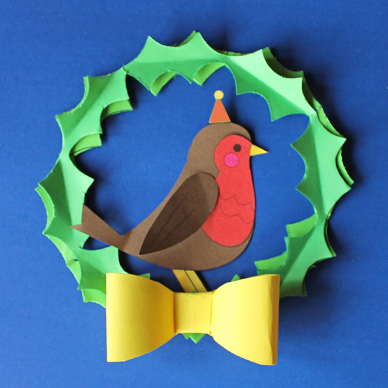 Jolly Holly robin in a Holiday Wreath templates and instructions: Happythought Holiday craft activity pack!