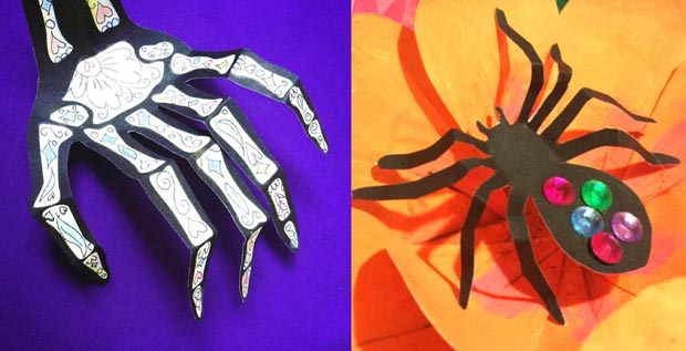 Paper skeleton and a paper spider flower crown decoration