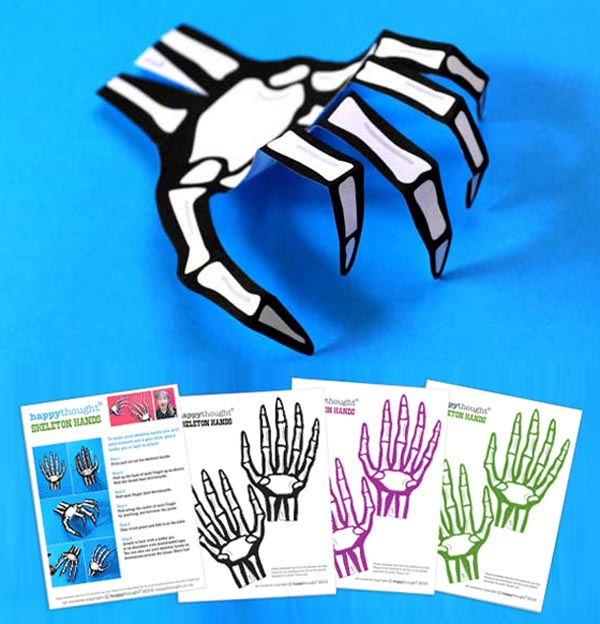 Paper skelton hand temoplate: Use in class or at home to create an outfit for Halloween