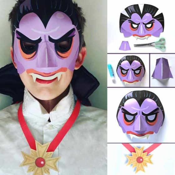 Meet Count Dracula - paper Vampire mask step-by-step instructions and template