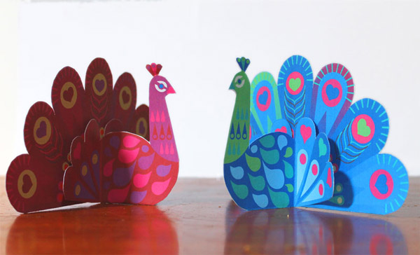 Easy make pretty paper peacocks craft template PDFs + instructions!