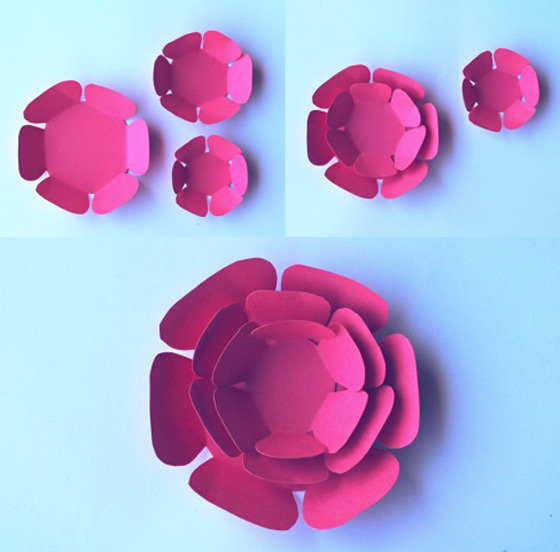 How to make cute pink paper flowers. DIY printable templates!