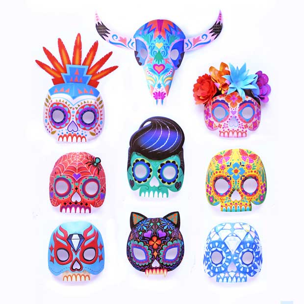 Nine printable DIY calavera mask set for dress-up and costumes