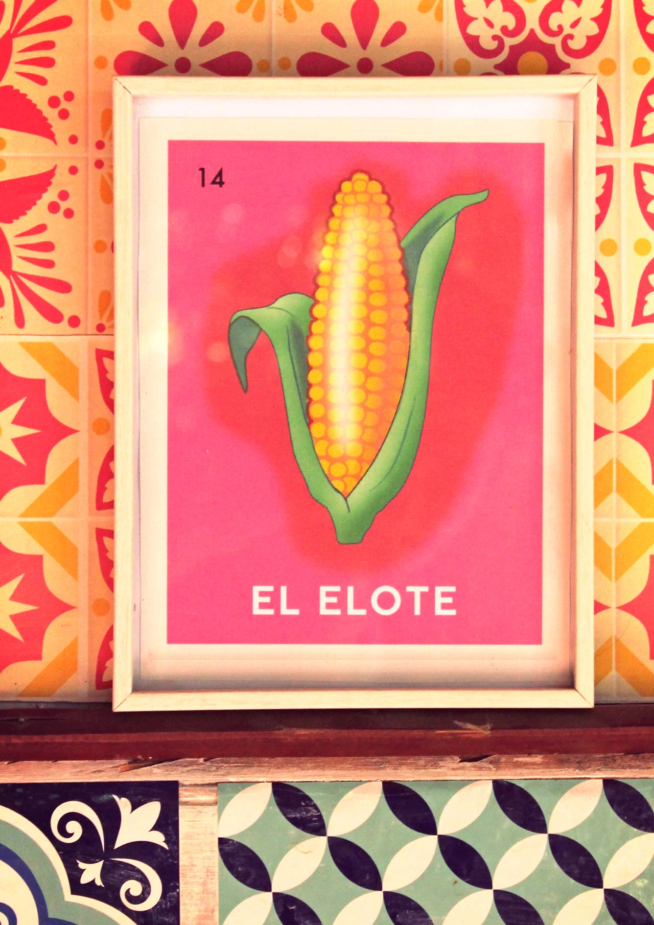 DIY printable Loteria Elote poster card in a frame