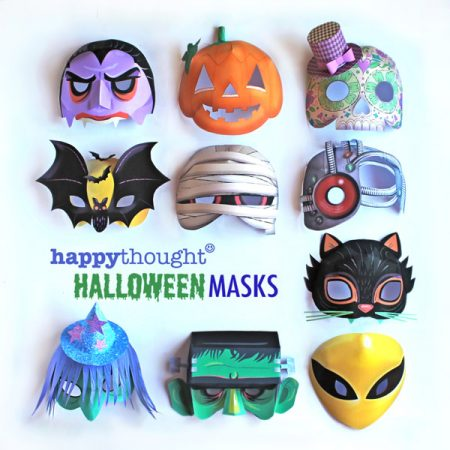 Printable Halloween masks: Alien, Frankenstein, Cat, Witch, Mummy, Calavera, Pumpkin, Cyborg, Bat and Vampire.