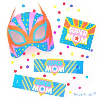 Super Mom printable mask and Mother's Day card templates to download and print instantly
