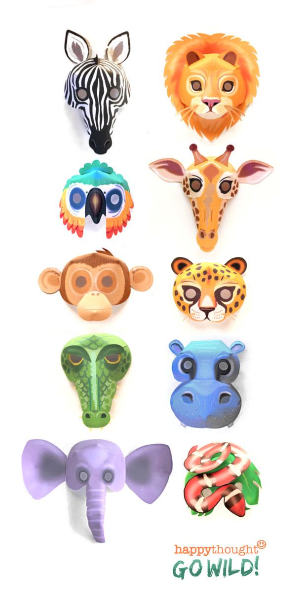 DIY wild animal masks to print and make - Printable wild animal mask templates to download and make for a jungle party!