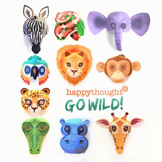 Printable wild animal masks template african savanna jungle creatures