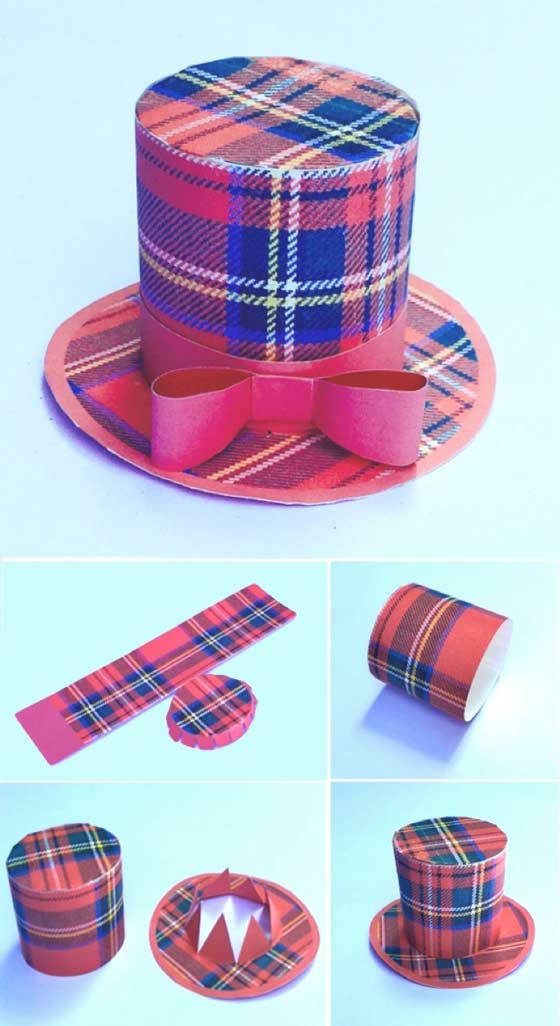 Red tartan mini top hat colour templates for Burns Night
