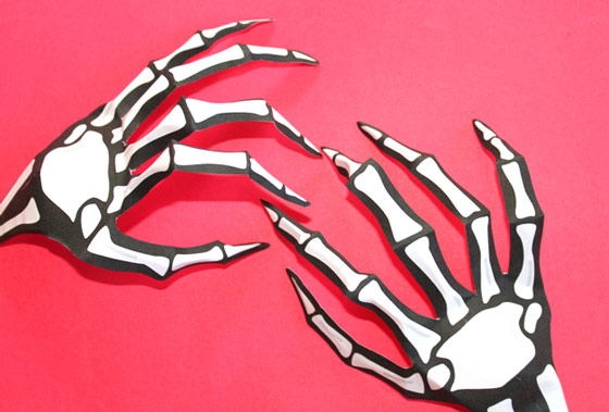 Halloween costume ideas: Paper skeleton hand to print and cutout!