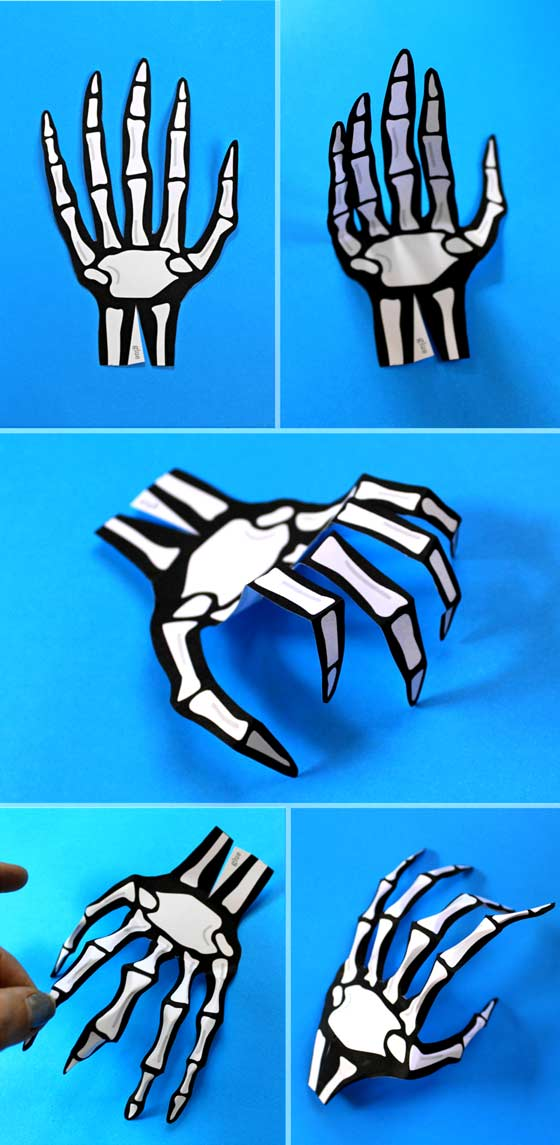 Halloween costume accessories. How to make paper skeleton hand template + instructions!