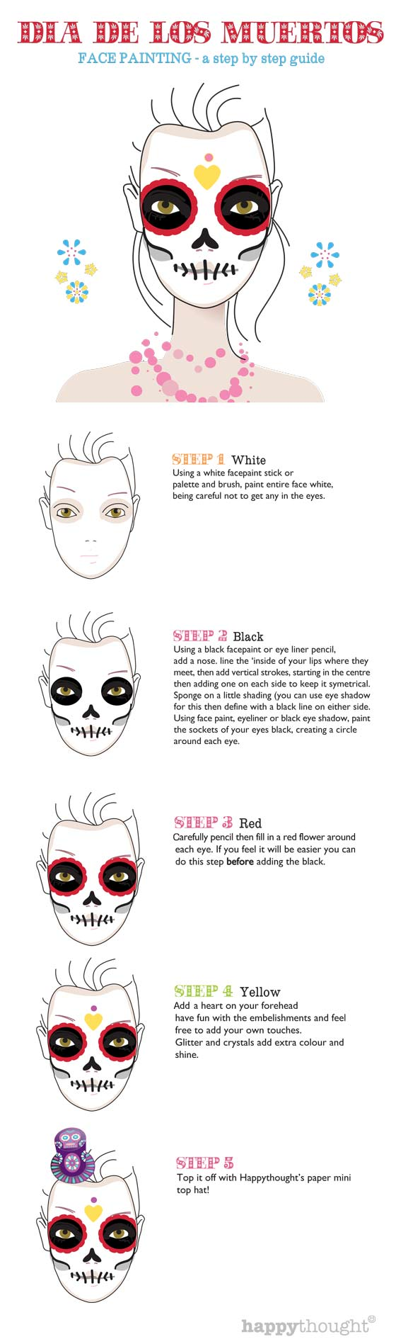 Day Of The Dead Free Skull Face Paint Tutorial Dia Muertos - Day-of-the-dead-makeup-tutorial-video