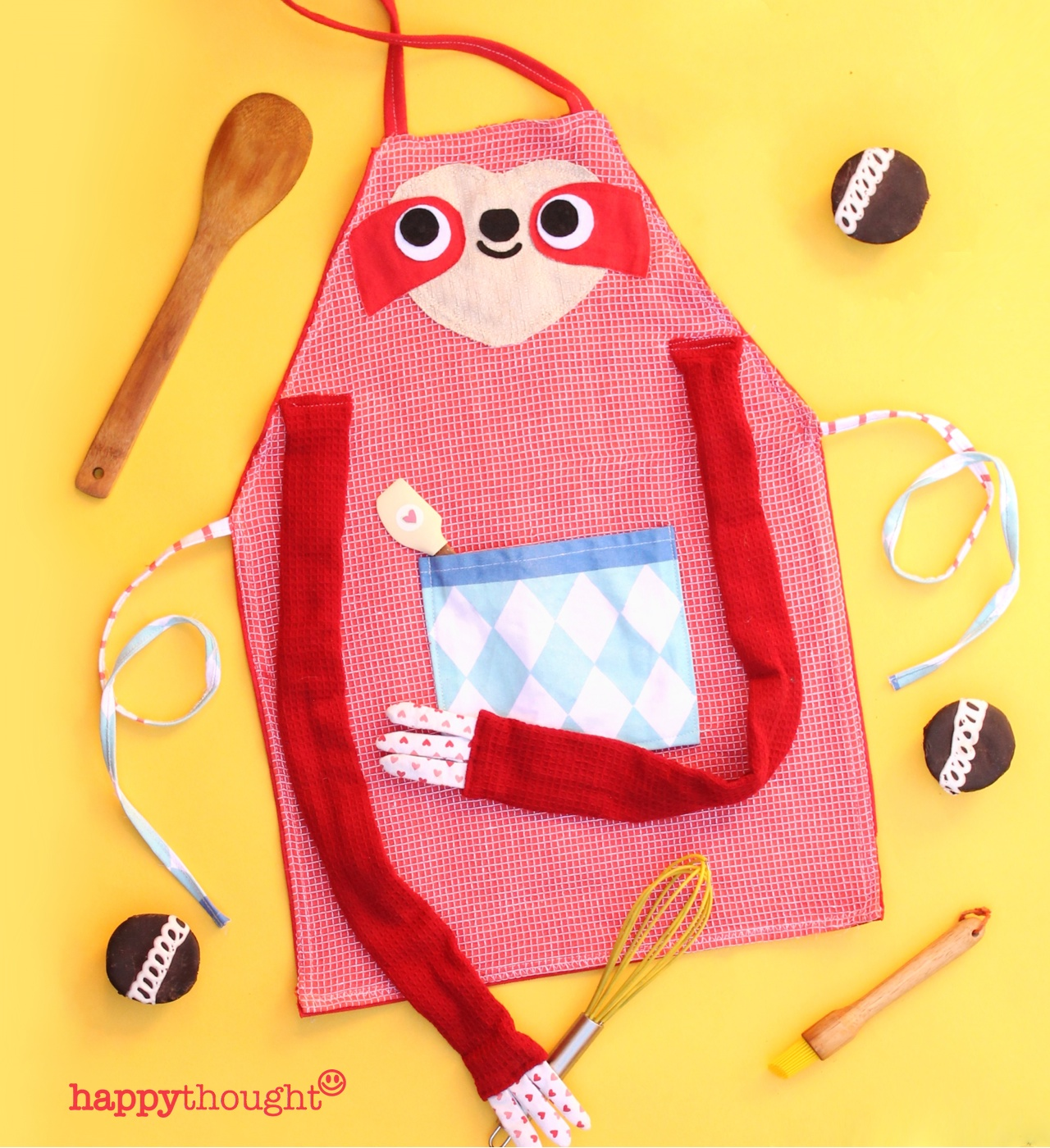 Choose some colorful tea towels and get crafting. Make a fun sloth apron with our easy step-by-step.