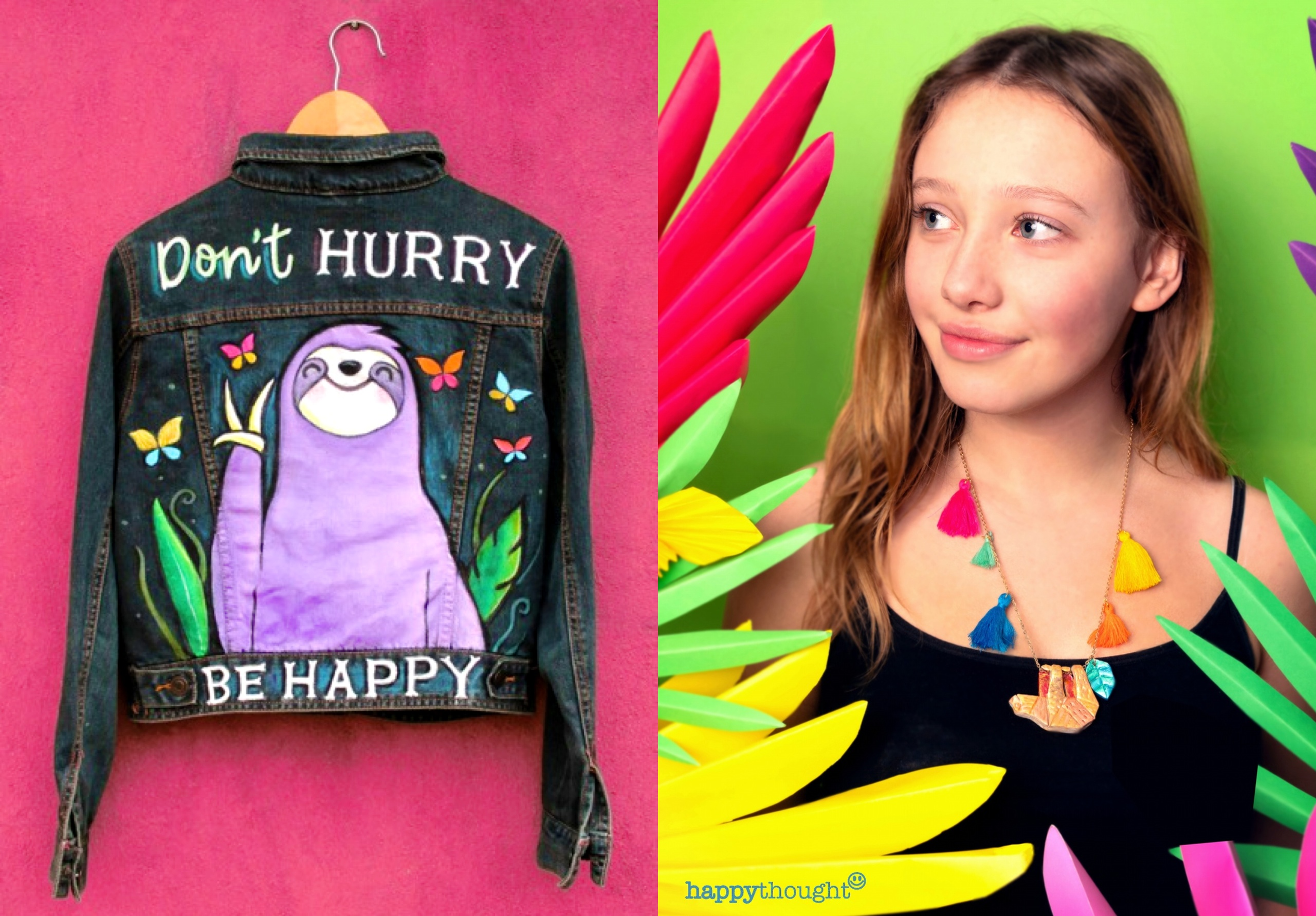 Paint a stunning 'Don't hurry, be happy' graphic on to an old denim jacket. Necklace craft ideas too!